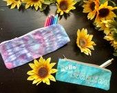 Handmade pencil case, tie dye pencil case, hippie pencil case, heady pencil case, tie dye pouch, hipster pouches, blue pencil case, purple