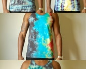assorted small and medium tie dye tank tops, heady tank top, teal tie dye tank, zigzag tank top, heady teal tank top, psychedelic tank top