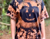 Bleached Halloween shirt, pumpkin bleach shirt, heady bleach shirt, black Halloween shirt, Halloween bleach top, heady Halloween top, hippie