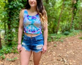 Handmade peace crop tank, peace crop tank top, hippie crop tank top, handmade beach tank top, summer crop tank top, purple tie dye crop tank