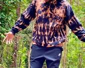 Bleach dye hoodie, heady bleached hoodie, stripe bleach dye hoodie, stripe sleeves, black hoodie, hippie black hoodie, bleach dyed hoodie,