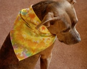 Yellow dog bandana, beaded dog bandana, tie dye dog bandana, swirl dog bandana, hippie dog bandana, boho dog bandana, artsy dog bandana