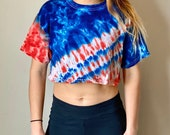 Red USA crop top, blue USA crop top, boho america crop top, heady USA crop top, hippie america shirt, tie dye crop top, Fourth of July shirt