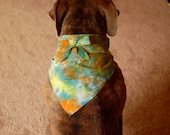 tie dye dog bandana, yellow dog bandana, orange dog bandana, green dog bandana, blue dog bandana, hippie dog bandana, dope dog bandana, boho