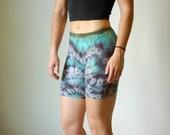 Boho workout spandex, purple boho spandex, green hippie spandex, purple heady shorts, green boho spandex, summer workout shorts, wavy short