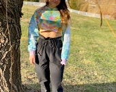 boho crop pullover, psychedelic crop sweater, tie dye pullover, hippie pullover, boho crop sweater, artsy crop pullover, tie dye crop top