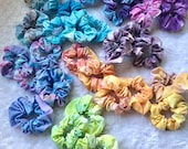 Handmade tie dye scrunchies, handmade scrunchies, hippie scrunchies, bleach dye scrunchies, lace scrunchies, Fourth of July scrunshie,