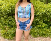 Handmade tie dye crop tank top, hippie crop tank top, teal crop tank top, stripe crop tank top, heady crop tank top, beachy tank top, summer