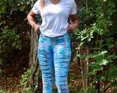 Teal hippie leggings, tie dye leggings, teal dyed leggings, hippie yoga leggings, boho yoga leggings, hipster leggings, hand died leggings,