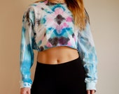 Pink Blue and Green Tie Dye Crop Top, Long Sleeve tie dye, long sleeve crop top, pink tie dye croptop, blue tie dye croptop, green boho top