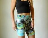 Spiral boho spandex shorts, teal boho spandex shorts, yellow heady spandex, summer spiral spandex, blue boho workout short, squat shorts