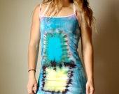 Tie dye Cactus Dress, blue tie dye dress, blue boho dress, boho cactus dress, heady summer dress, beachy cactus dress, blue tie dye dress