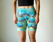 Heady workout shorts, yellow boho spandex, green hipster shorts, blue wavy spandex, blue hippie spandex, boho workout shorts