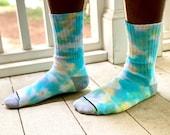 Tie dye socks, sunset socks, pink tie dye socks, peach tie dye socks, beachy blue socks, rainbow socks, tie dye rainbow socks, heady socks,