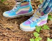 Hipster vans, Tie dye shoes, tie dye high tops, tie dye vans, hippie vans, hippie high tops, hand died shoes, custom vans, heady died shoes