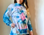 Blue, Green, Pink, and Grey Long Sleeve Tie Dye Shirt, trippy tie dye shirt, psychedelic tie dye, pink tie dye top, blue tie dye top