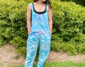 Beachy blue overalls, tie dye overalls, handmade hippie jumpsuit, handmade tie dye overalls, tie dye jumpsuit, festival jumpsuit, boho