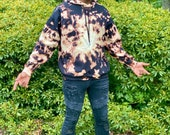 Bleach dye hoodie, swirl bleach dye hoodie, swirl bleached hoodie, bleached sweatshirt, bleach dye sweatshirt, black tie dye hoodie, black