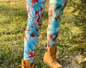 Heady leggings, winter leggings, tie dye leggings, boho leggings, hipster leggings, blue and red leggings, Christmas leggings, hippie