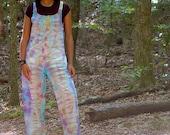 Handmade tie dye overalls, handmade boho overalls, hippie jumpsuit, purple jumpsuit, boho purple jumpsuit, beachy jumpsuit, tie dye jumpsuit
