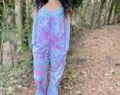 Pastel jumpsuit, pastel overalls, pink and teal overalls, handmade overalls, tie dye overalls, tie dye jumpsuit, hippie jumpsuit, hipster