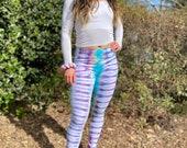 Hippie leggings, rainbow leggings, tie dye leggings, heady leggings, hippie hand dyed leggings, boho tie dye leggings, teal tie dye leggings