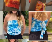 assorted adjustable tube tops, hipster tie dye tube top, blue tube top, summer tube top, hippie tube top, boho tube top, heady tube top, art