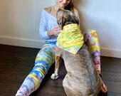 tie dye leggings, hippie leggings, rainbow leggings, boho leggings, unique died leggings, purple boho leggings, artsy boho leggings, crafty