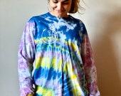 tie dye long sleeve, blue tie dye shirt, purple tie dye shirt, heady tie dye shirt, hippie tie dye shirt, blue boho tie dye shirt, dope dye