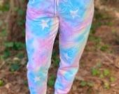 Tie dye Galaxy Joggers, tie dye star joggers, teal tie dye joggers, hippie joggers, hipster joggers, galaxy pants, boho star joggers, hippie