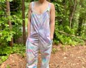 Tie dye jumpsuit, handmade jumpsuit, handmade boho overalls, handmade beachy overalls, tie dye overalls, swirl jumpsuit, festival jumpsuit,