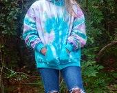 Boho Wave Sweatshirt, hippie tie dye hoodie, ocean wave hoodie, teal ocean hoodie, lavender hoodie, tie dye sweatshirt, tie dye hoodie, hipp