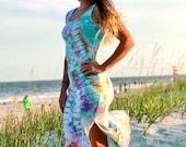 Handmade tie dye dress, handmade hippie dress, teal boho dress, heady tie dye dress, summer spandex dress, beach spandex dress, tie dye