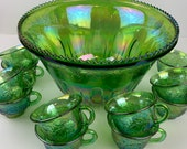 Indiana Glass Princess Green Carnival