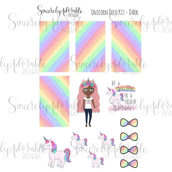 Printable Unicorn Deco Sticker Sheet Dark Digital File Etsy