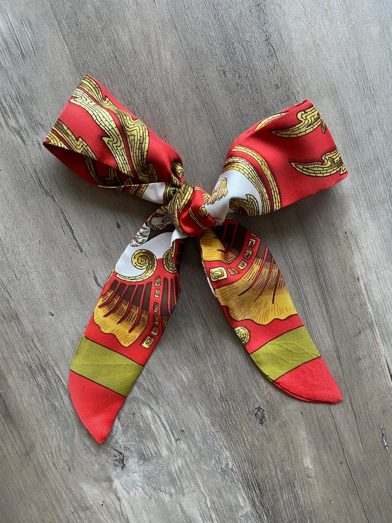 Herm\u00e8s Vintage Hair Scarf made from \u2018Cheval Turc\u2019 in Red