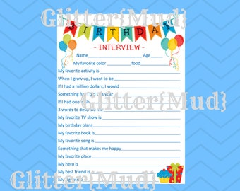 8.5x11 Gray Orange Blue Original Party Series Birthday Memories DIGITAL DOWNLOAD Birthday Interview PRINTABLE