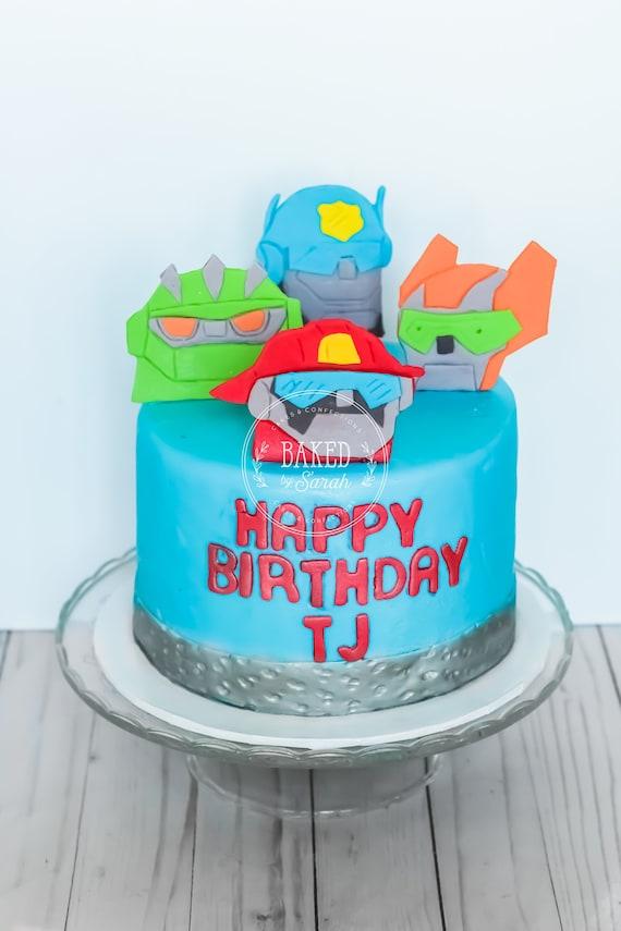 Strange Rescue Bots Inspired Fondant Cake Toppers Etsy Funny Birthday Cards Online Alyptdamsfinfo