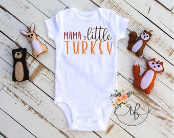 bca83cf03 Mama's Little Turkey Mommy's Little Turkey Onesi | Funny Fall Baby Bodysuit  | Baby Thanksgiving Turkey Outfit