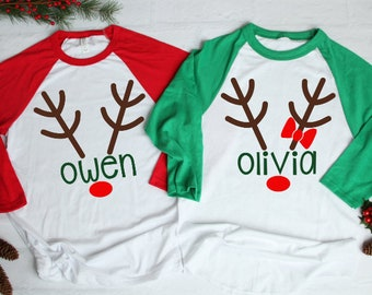 c0af1d076 Matching Kids Christmas Shirts | Holiday Deer Antlers With Name Outfit |  Baby Twin Sibling Family Christmas Shirts