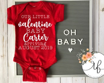 1e9f9483634d9 Valentines Day Baby Announcement Onsie | Pregnancy Reveal Onesi | Valentine  Baby Last Name Due Date Bodysuit