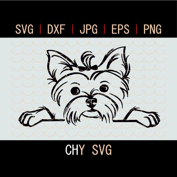 Yorkshire Terrier Svg Puppy Peeking Svgyorkie Dog Svg Files Etsy