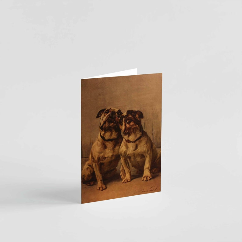 Printed Funny Vintage Miniature Bulldog Greetings Card Bulldogs Birthday Card A6 Card Humorous Dog Greetings Card