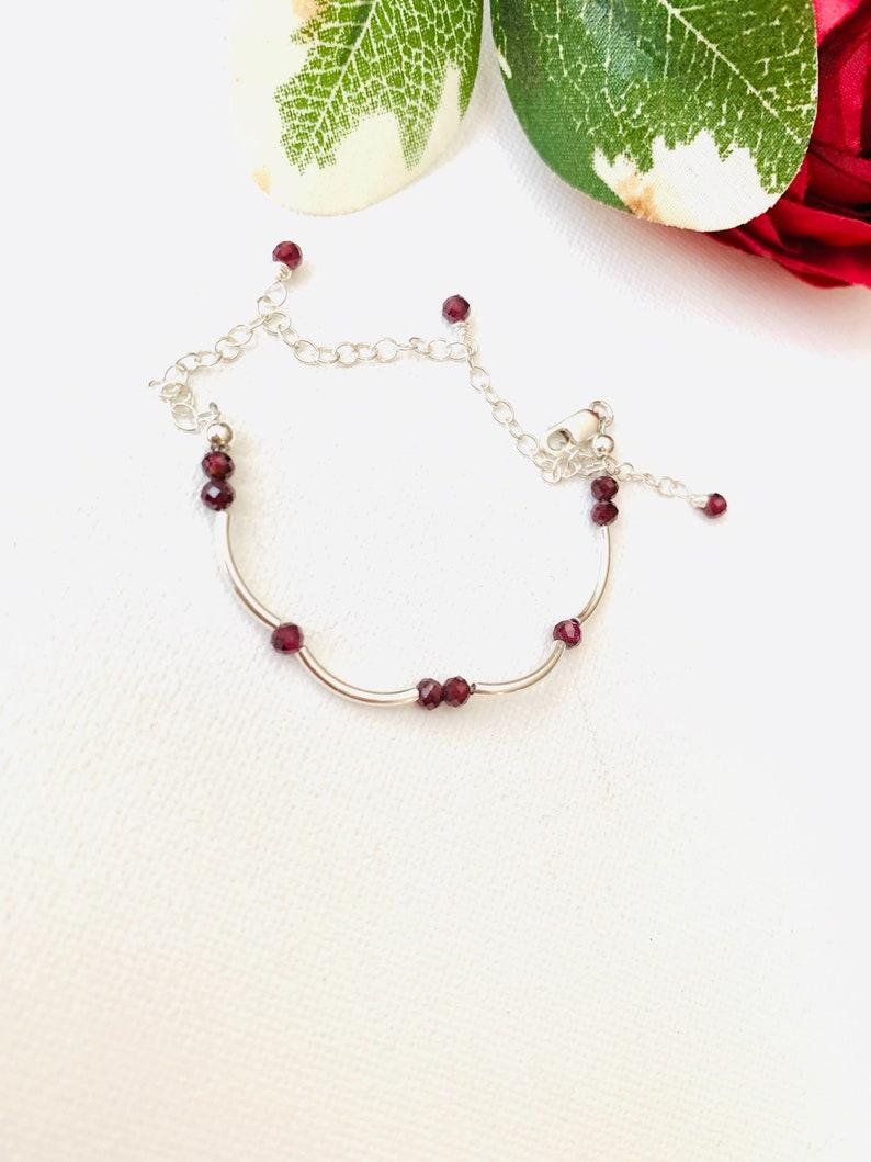 Garnet Bracelet January Birthstone Bracelet Sister Bracelet Anniversary Bracelet Gift for Wife Bridesmaid Gift Mom Gift Girlfriend Bracelet