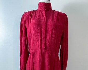5d79c427dd6e9 Vintage 70s Francesca of Damon Garnet Red Silk Turtleneck Dress