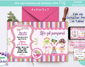 spa birthday party invitations printables free