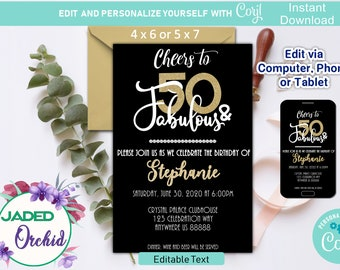 50 And Fabulous 50th Birthday Party Invitation Printable Editable Template Corjl