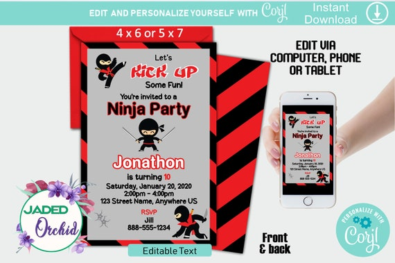 Printable Ninja Warrior Boys Invitation YOU EDIT//PRINT Digital PDF /& JPG Corjl