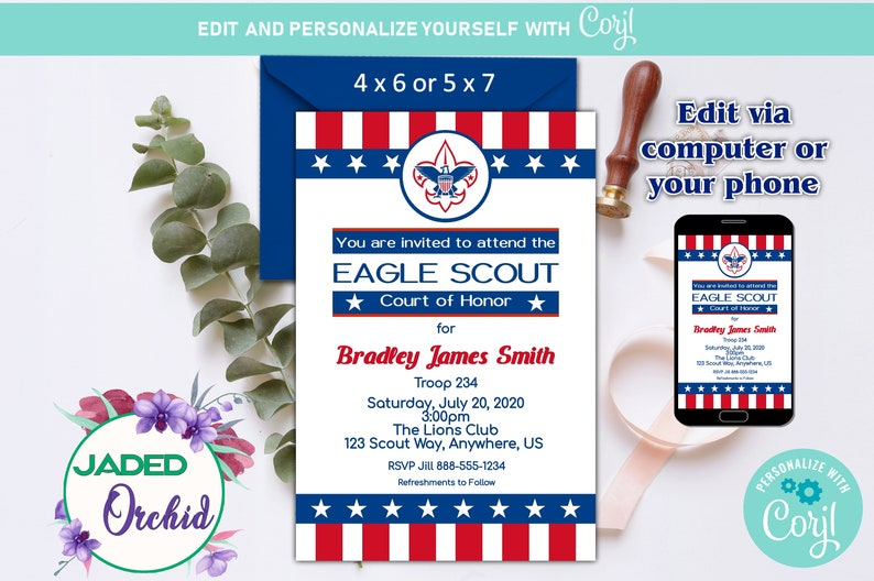 Eagle Scout Invitation Template | Printable Eagle Scout Court Of Honor Invitations Template Etsy