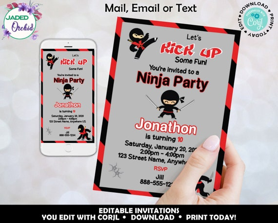 Printable Karate Ninja Invitation YOU EDIT//PRINT Digital Invite PDF /& JPG Corjl